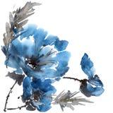 Watercolor peony flower stock illustration