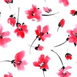 Red flowers pattern. Watercolor and ink illustration of red flowers. Sumi-e, u-sin painting. Seamless pattern Royalty Free Stock Photography
