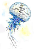 Watercolor and Ink Jellyfish Painting Stock Photos