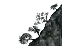 Watercolor ink landscape tree chinese mountain fog . Traditional oriental. asia art style.isolated on a white background. Watercolor painting ink landscape tree stock illustration