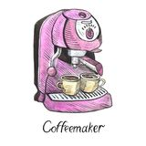 Pink coffeemaker with two cups, hand painted illustration. Watercolor and ink outline illustration with inscription isolated on white Royalty Free Stock Image