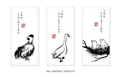 Watercolor ink paint art vector texture illustration avian collection cock dock and fledgling. Translation for the Chinese word :. Blessing royalty free illustration