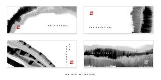 Watercolor ink paint art vector texture illustration banner background template. Translation for the Chinese word : Blessing.  stock illustration