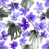 Watercolor and ink painted blue flowers with leaves Royalty Free Illustration