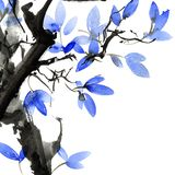 Watercolor and ink painted tree with leaves Stock Illustration
