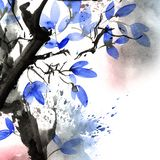 Watercolor and ink painted tree with watersplash Royalty Free Illustration