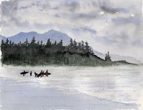 Watercolor & ink painting. Canadian surfers on a background of mountains Royalty Free Stock Image