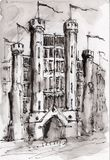Watercolor & ink painting. The castle with flags in black and white water soluble ink style Royalty Free Stock Photos