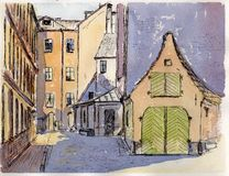 Watercolor & ink painting. A cozy Riga courtyard on a sunny day Stock Photography