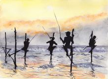 Watercolor & ink painting. Fishermen above the water line Royalty Free Stock Photo