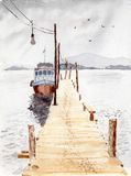 Watercolor & ink painting. Fishing boat by the pier on a cloudy day Royalty Free Stock Photography