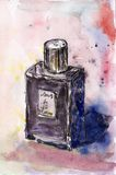 Watercolor & ink painting. Gray and violet watercolor bottle of perfume Royalty Free Stock Photo