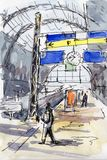 Watercolor & ink painting. Lonely pedestrian in the sunny Hamburg railway station Royalty Free Stock Photos