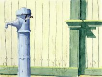 Watercolor & ink painting. Old water faucet near the green wall Stock Images