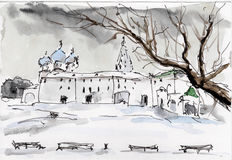 Watercolor & ink painting. Russian little town winter sketch Stock Photo
