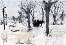 Watercolor & ink painting. Russian little town winter way  sketch Stock Photography
