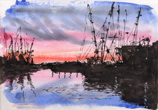 Watercolor & ink painting. Watercolor  ultramarine and red sunset with the silhouette of the port Stock Photography