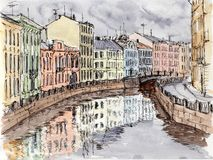Watercolor & ink painting. Urban sketch of city canal Stock Photos