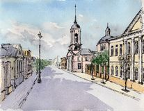 Watercolor & ink painting. Urban sketch of Moscow street Stock Photo