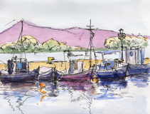 Watercolor & ink painting. Watercolor violet hills with fisher boats Stock Image