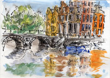 Watercolor & ink painting. Wet bridge above Amsterdam canal Royalty Free Stock Image
