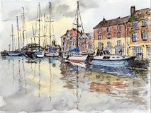 Watercolor & ink painting. Yachts in the marina of little town by rainy day Royalty Free Stock Photo