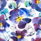 Watercolor and Ink Seamless Pattern Violet and Blue Flower of Pansy and White butterflies. Hand drawn design. Royalty Free Stock Images