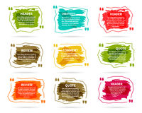 Watercolor, ink, splash Quote blank templates Royalty Free Stock Photos