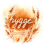 Watercolor  Inscription Hygge Royalty Free Stock Images