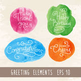 Watercolor Inscriptions. Set of hand lettering handmade calligraphy in watercolor background for greeting cards, vector illustration royalty free illustration