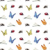 Watercolor insects illustrations Stock Photography