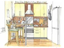 Watercolor interior. Kitchen interior drawn in watercolor stock illustration