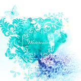 Watercolor invitation background with blue watercolor splash and Stock Photos