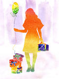 Watercolor the iridescent girl. With gifts and a sphere Royalty Free Stock Photos