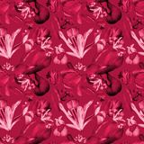 Watercolor iris and tulips seamless pattern red stock illustration