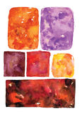 Watercolor irregular rectangles, vector art frames, spotted abstract shapes Royalty Free Stock Photos