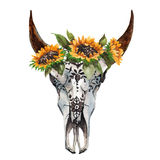 Watercolor isolated bull`s head with flowers and feathers on white background. Boho style. Skull for wrapping, wallpaper Stock Image