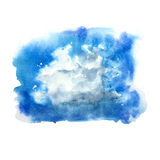 Watercolor isolated cumulus cloud stain brush Royalty Free Stock Photo