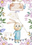 Watercolor isolated cute watercolor Bunny in air balloon clipart. Nursery rabbit illustration. Baby poster. Trendy pink