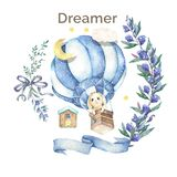 Watercolor isolated cute watercolor Bunny in air balloon and stars clipart. Nursery rabbit illustration. Baby poster