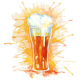 Watercolor isolated glass of beer Stock Images