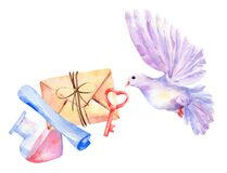 Watercolor isolated set love elements. Letter, envelope, robe, key, bottle, paper, dove bird flying. Valentine`s day