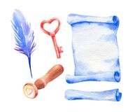 Watercolor isolated set love message, communication mail elements. Hand drawn Valentine`s day symbol