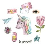 Watercolor isolated unicorn, flowers royalty free illustration