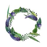 Watercolor isolated wreath with violet flowers, leaves and herbs stock illustration