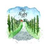 Watercolor Italy landscape. Stock Photo