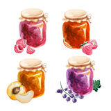 Watercolor jam-jars isolated on white background Stock Photos