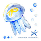 Watercolor jellyfish illustration. Watercolor jellyfish. Hand painted realistic vector illustration Royalty Free Stock Photo