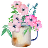 Watercolor jug with flowers Stock Image