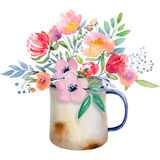 Watercolor jug with flowers Royalty Free Stock Photo